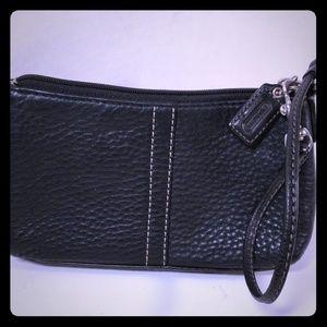 "Black Leather Wristlet  7""x4.5 Coach"